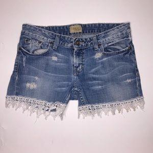 BKE Denim   Cutoff Lace Trim Blue Jean Shorts